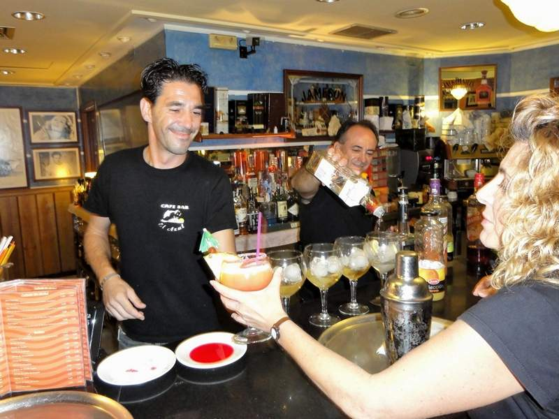 Being served at the Bar Azul