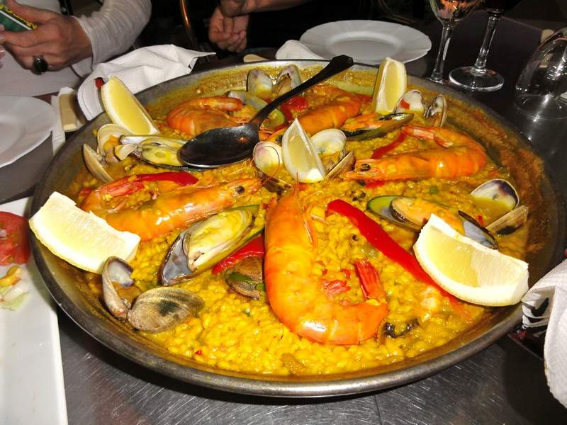 Seafood paella for dinner