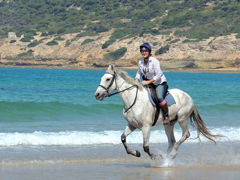 Riding a horse at gallop on the beach