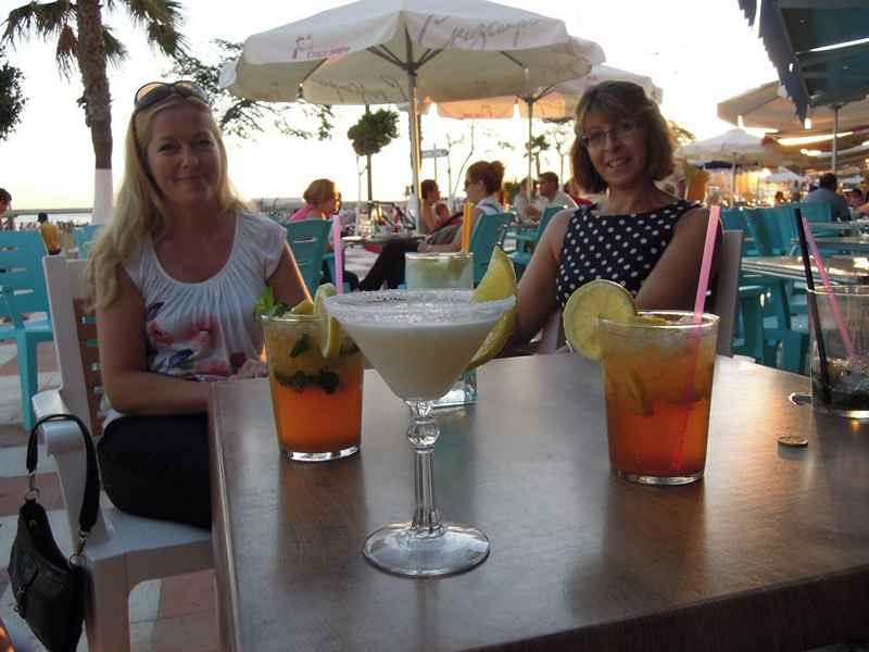 Drinks before dinner on our equestrian vacation