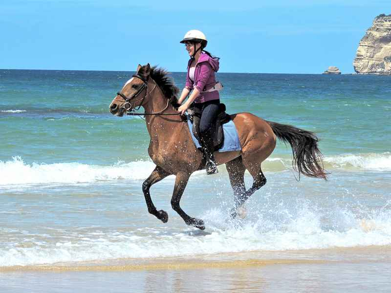 a gallop through the surf on our horse riding vacation