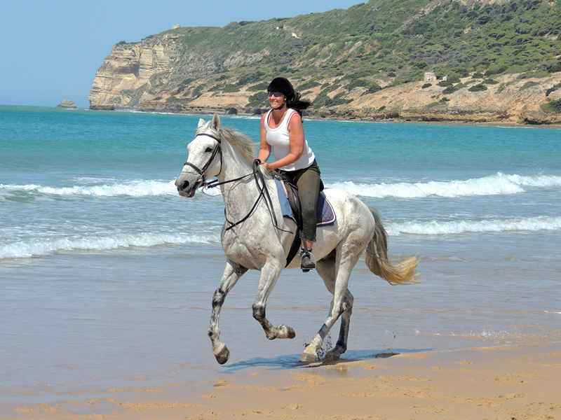 Beach horse riding on a Equestrian holiday in Spain