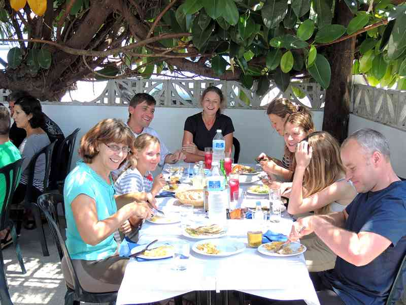 Horse riders at lunch on our our horse riding short break