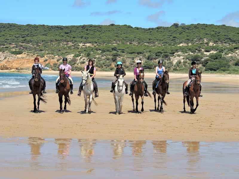 Horse riding on hierbabuna beach during our equestrian holidays