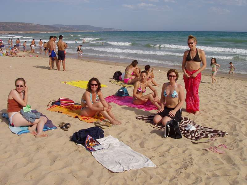 A group sunbathing after riding on our horse riding short break